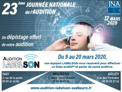 Du 9 au 20 mars 2020, nos équipes LABELSON vous reçoivent pour effectuer un bilan auditif et parler de santé auditive.