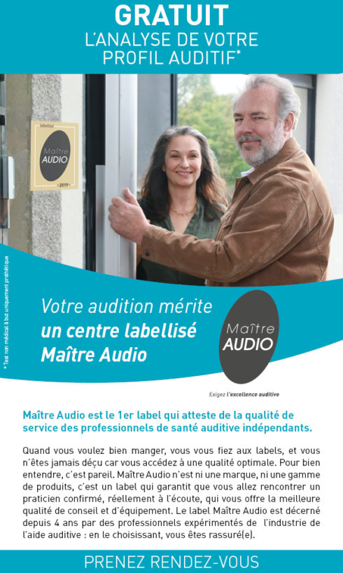 Maître Audio est le 1er label qui atteste de la qualité de service des professionnels de santé auditive indépendants - Gratuit : l'analyse de votre profil auditif